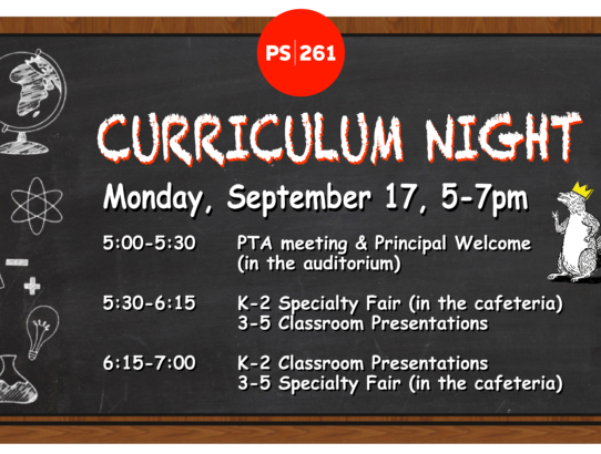 Curriculum Night! September 17th, 5 PM