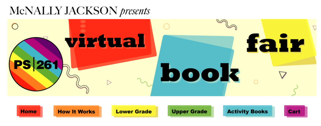 Screenshot of PS 261 virtual book fair website